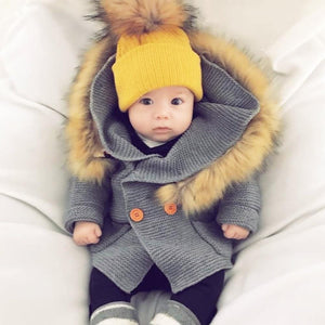 Sale - 15%  Winter Warm Baby Boy Girl Sweater Fur Hood Detachable, Outerwear & Coats- Babies Deals