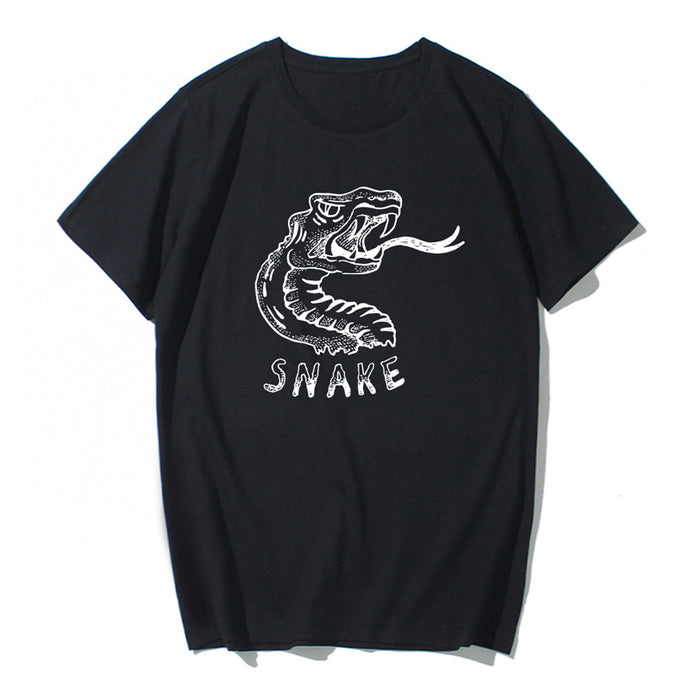 Short Sleeve Snake Cotton T-shirt