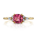 Pink spinel and diamond ring front view