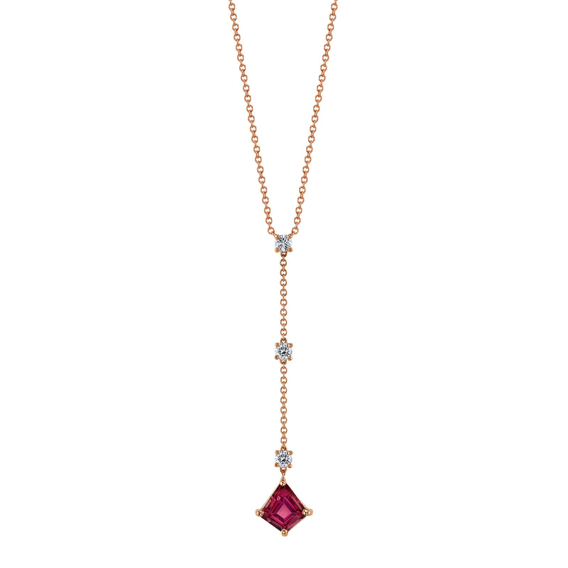 CLARA - One-of-a-Kind Malaya Garnet & Diamond Necklace