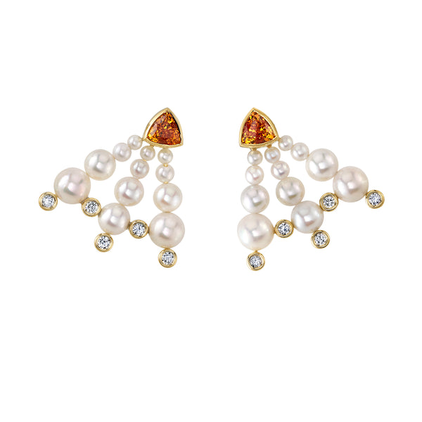 IRIS - One-of-a-Kind Mandarin Garnet, Akoya Pearl & Diamond Earrings