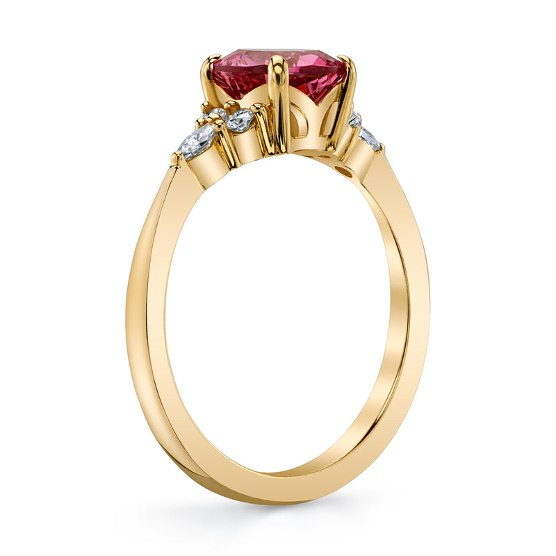 Pink spinel and diamond ring side view