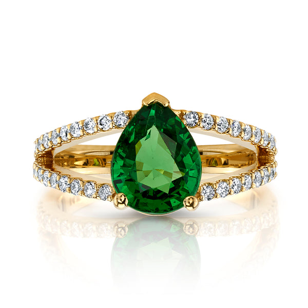 Pear tsavorite and diamond ring front view