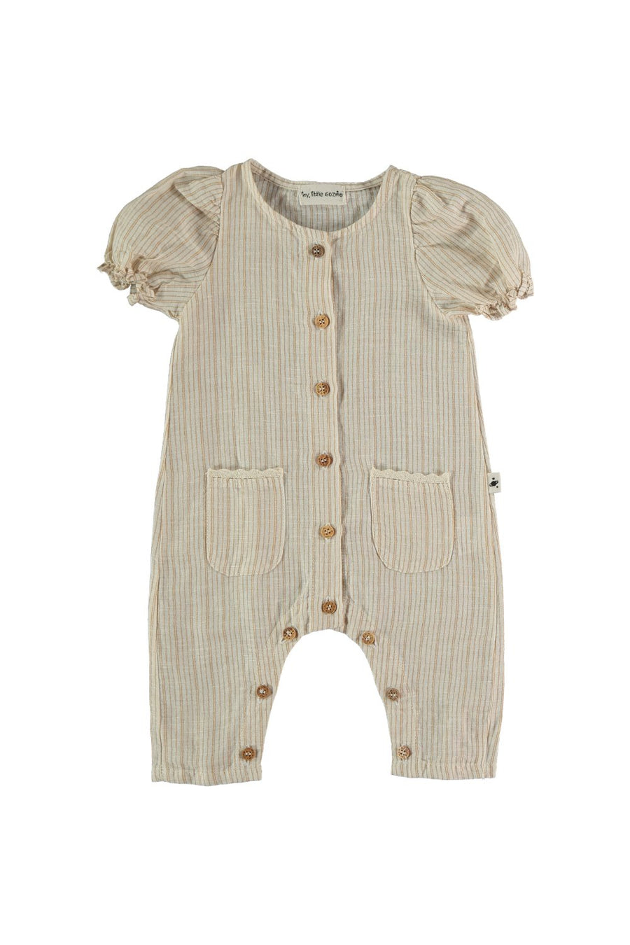 LINEN COTTON STRIPED BABY JUMPSUIT