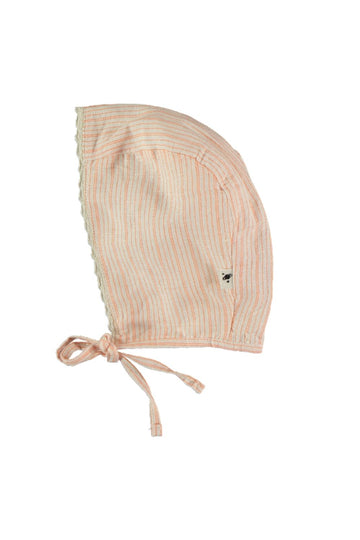 LINEN COTTON STRIPED BABY BONNET