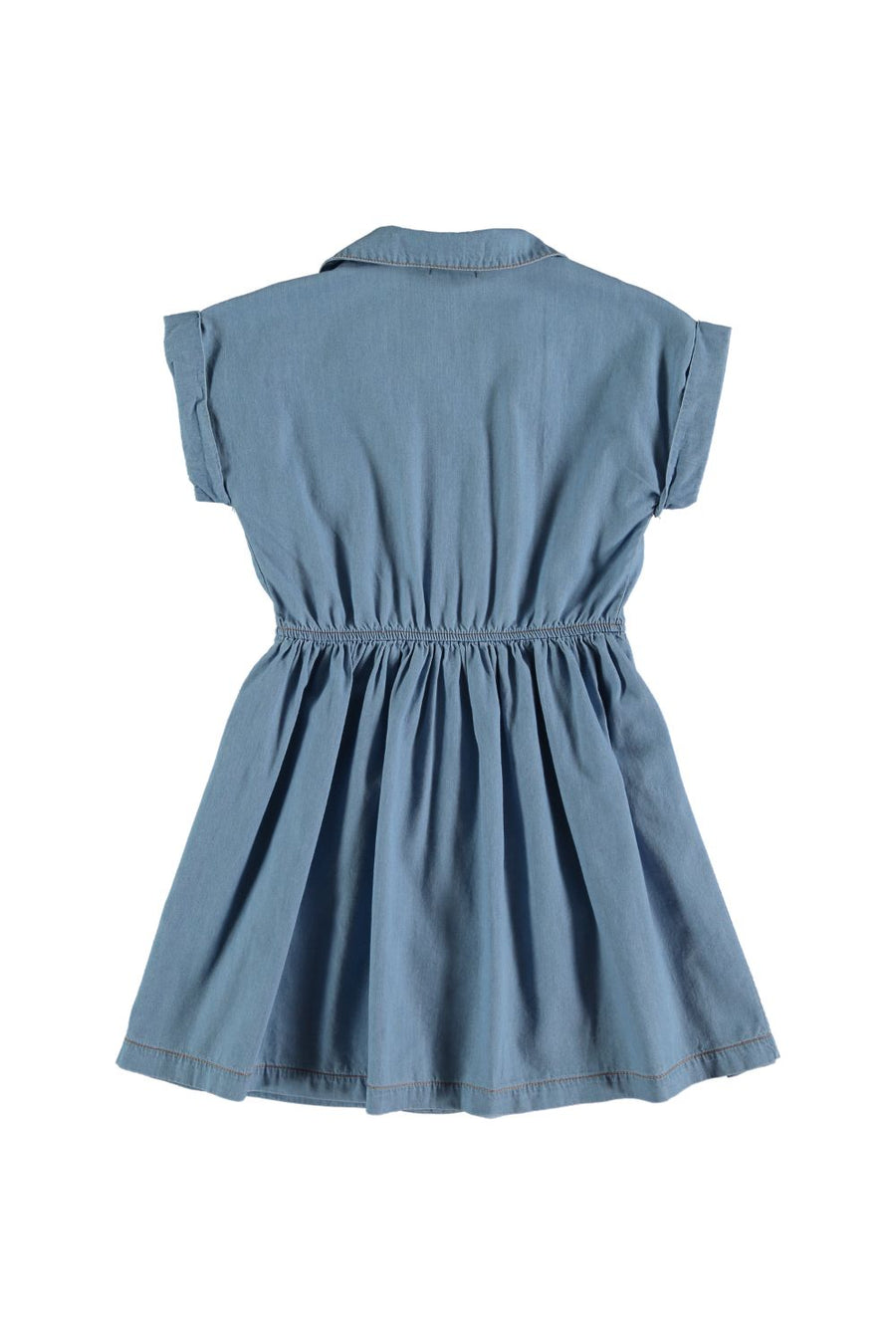 GATHERED CHAMBRAY DRESS