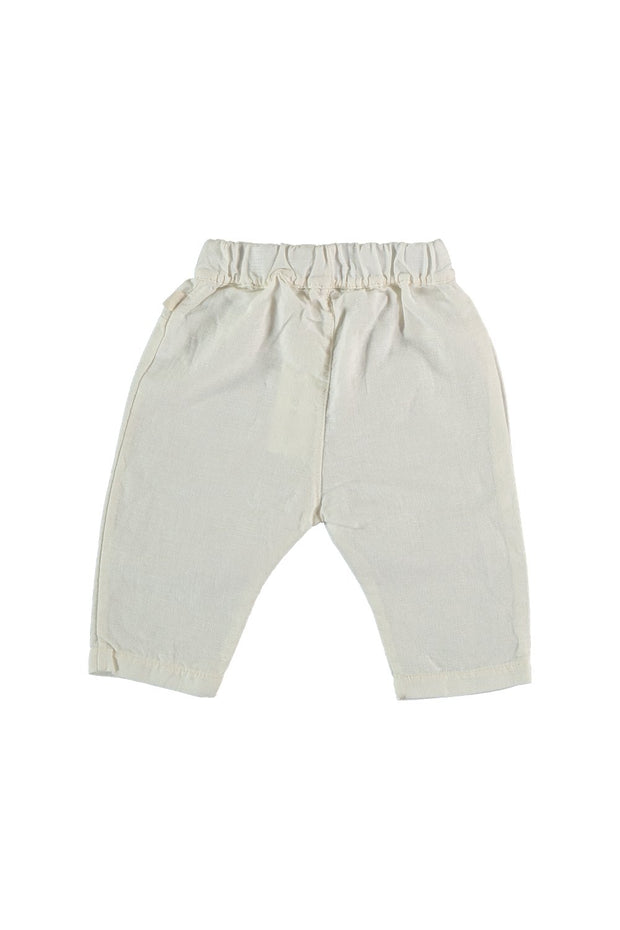baby white linen pants