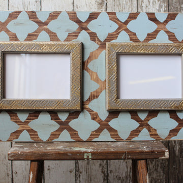 2-Open 5x7 Raw wood & Rain Quatrefoil