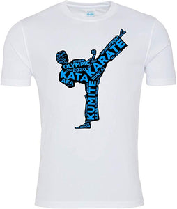 Karate Kick T-shirt (White-Black/Blue)