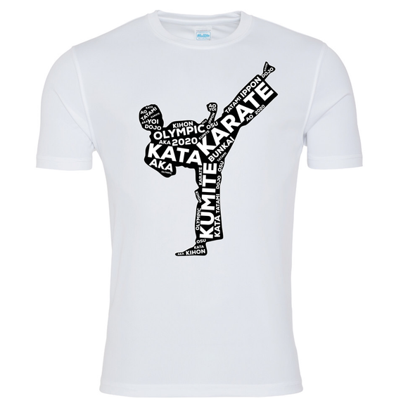 Karate Kick T-shirt (White-Black)