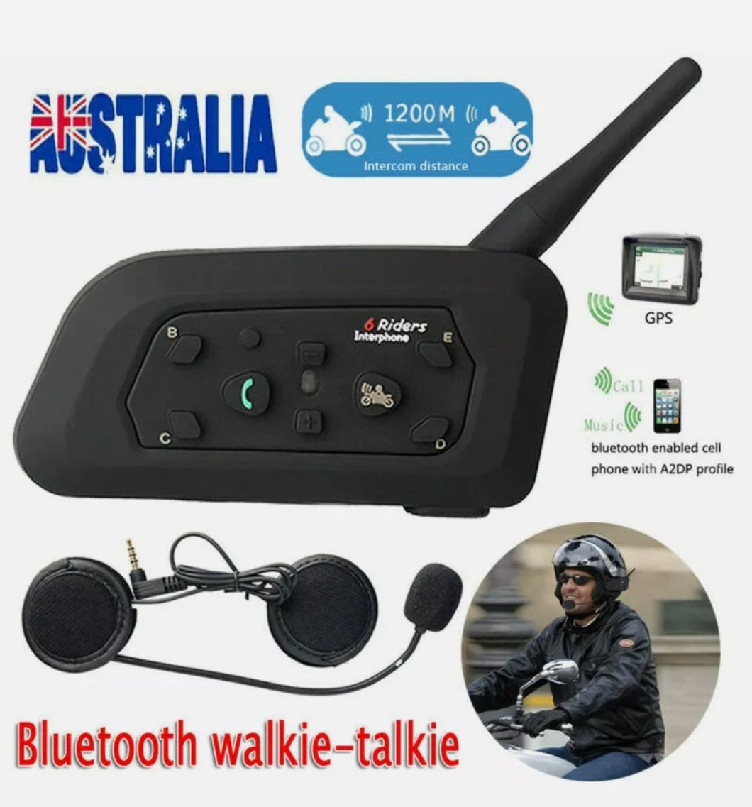 1200m 6 RIDERS MOTORCYCLE INTERCOM BLUETOOTH HELMET HEADSET V6 BT COMMUNICATION