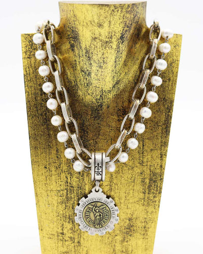 "FRENCH KANDE 17"" DOUBLE STRANDED PEARLS AND LYON CHAIN WITH MINI ST. MICHEL MEDALLION"