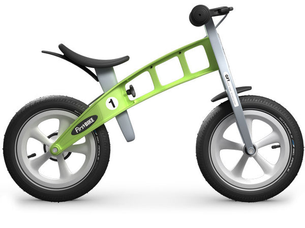 firstBIKE balance bike green racing inflatable tires
