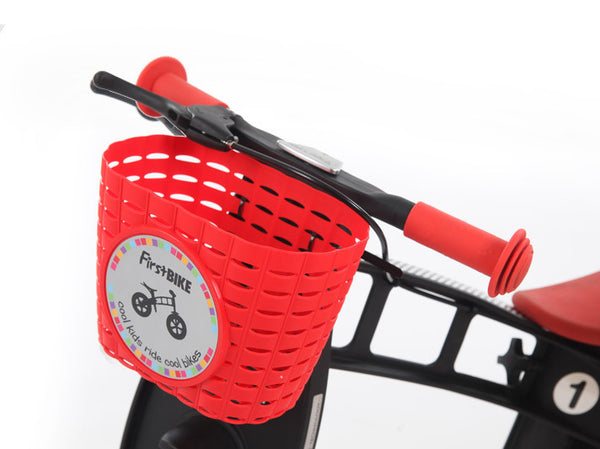 red kids bicycle basket
