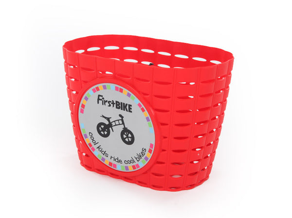 Red childrens bicycle basket