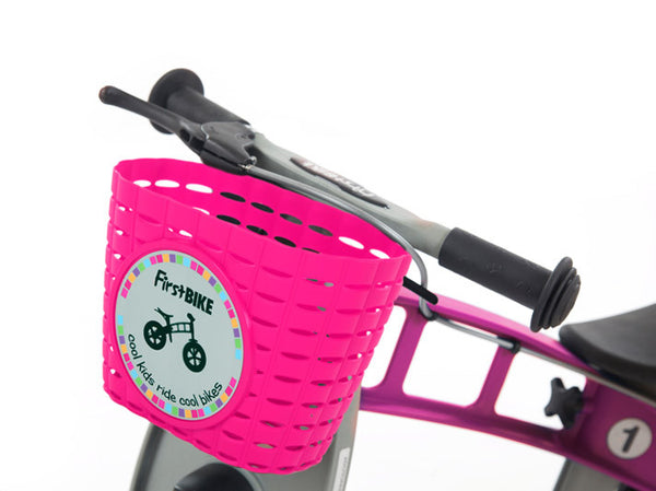 pink children's bicycle basket bike