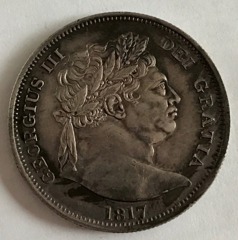Picture of 1817 King George III Silver Half Crown (rainbow toning)
