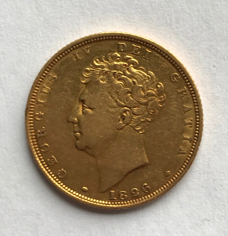 Picture of 1826 King George IV Bare head Gold Sovereign