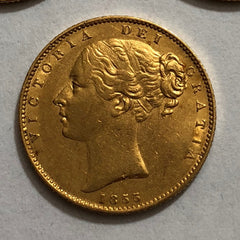 Victoria 1855 Y/H Shield Sovereign
