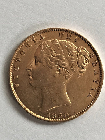 Picture of 1860 A for V in Victoria gold Sovereign