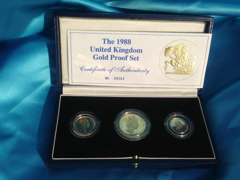 Picture of Elizabeth II 1988 Gold Proof Three Coin Set