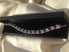Amethyst and Cubic Zirconia Silver Bracelet