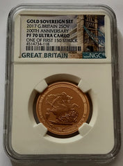 2017 Gold Proof Slabbed Queen Elizabeth II Two Pound PF70 Cameo first 150 struck