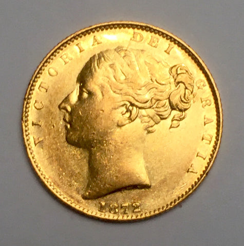 Picture of 1872 Queen Victoria Young Head Shield Gold Sovereign