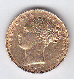 Picture of Victoria 1871 gold shield sovereign