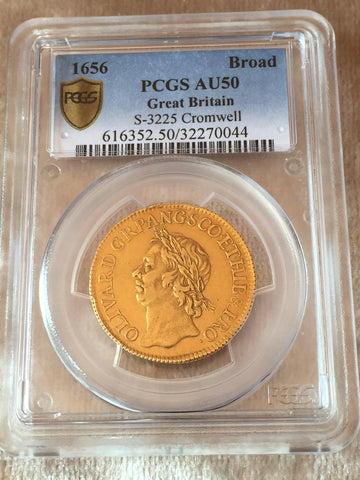 Picture of Rare 1656 Oliver Cromwell Gold Broad PCGS AU50