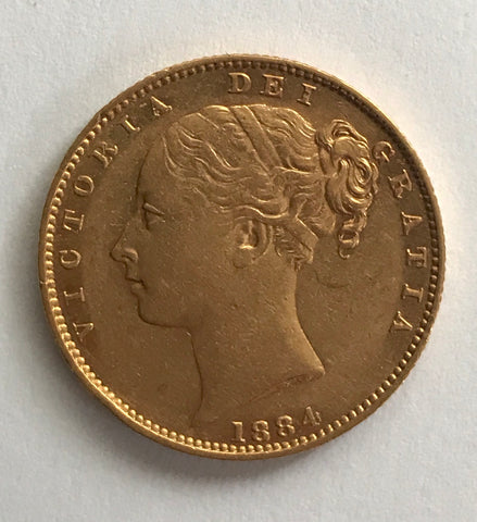 Picture of Victoria Young Head 1884 (M Mint) Shield Sovereign