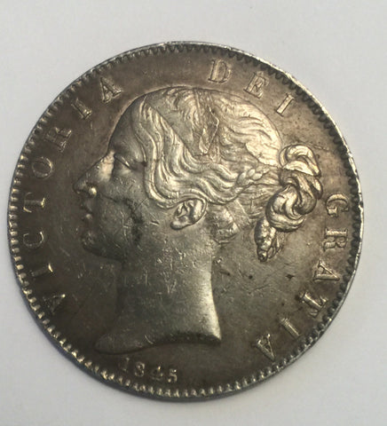 Picture of 1845 Queen Victoria Young Head Silver Crown/ cinquefoil stops