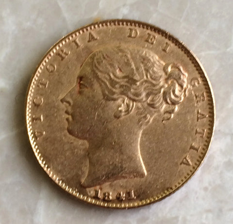 Picture of 1841 Queen Victoria Gold sovereign Rarest Sovereign of the Reign.