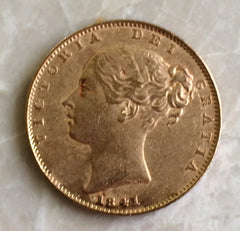 1841 Queen Victoria Gold sovereign Rarest Sovereign of the Reign.