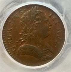 1774 King George III Farthing Slabbed