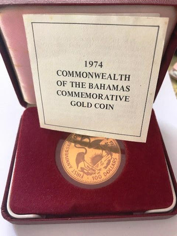 Picture of 1974 Commonwealth of the Bahamas gold Proof $100 coin
