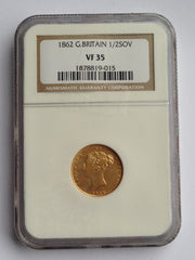 Extremely Rare Victoria 1862 Half Sovereign