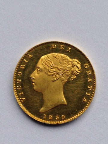 Picture of Victoria 1839 plain edge proof half sovereign