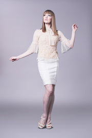 Bow neck, dainty nude lace top