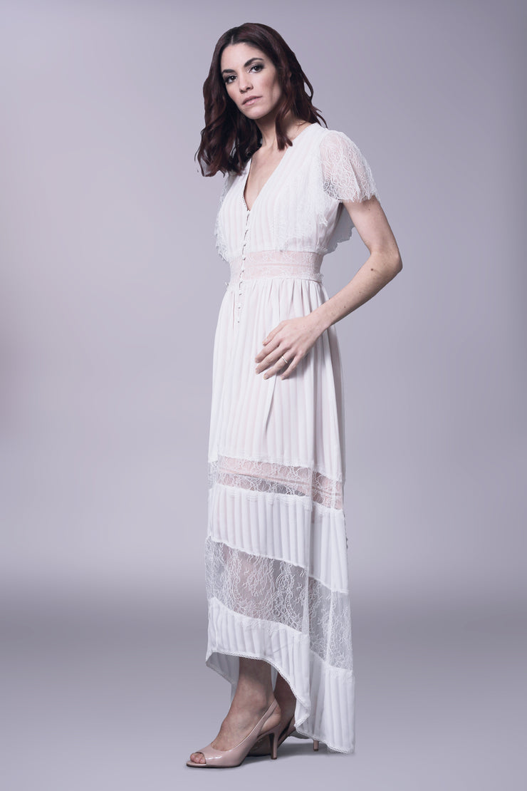 Chantilly lace nude and white, high low, maxi dress