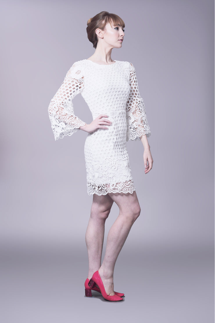 Crochet lace shift dress with bell sleeves