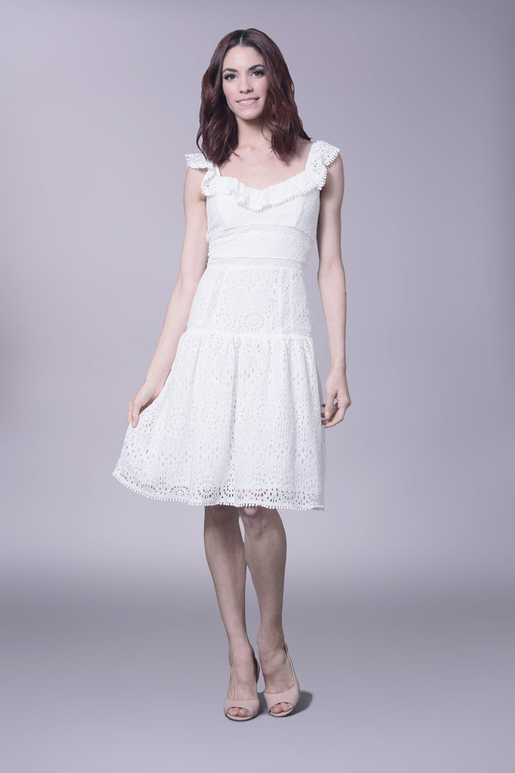 Eyelet lace, ruffle sleeve sundress