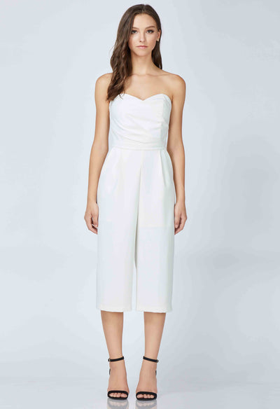 Sweatheart neckline, cropped jumpsuit with side ruching