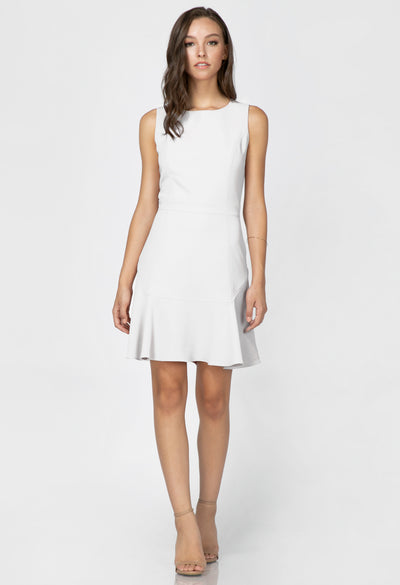 Fitted sheath dress with ruffle hemline