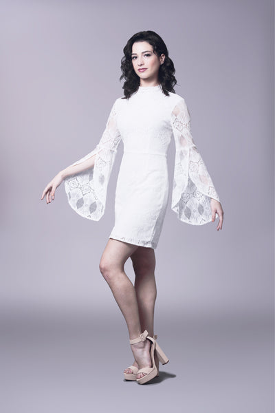 Mod lace dress with flounce sleeve