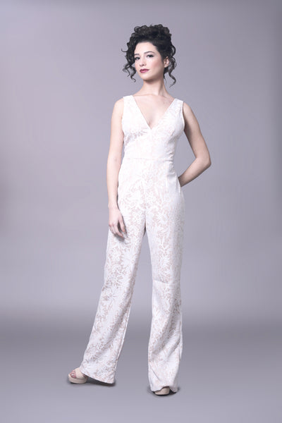 Nude and white sheer illusion lace jumpsuit