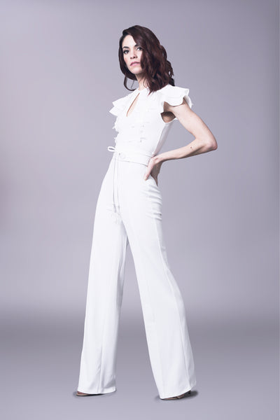 Ruffle sleeve jumpsuit with leather belt