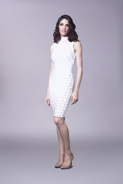 Bandage dress with metal eyelet trim detail and mock turtle neck