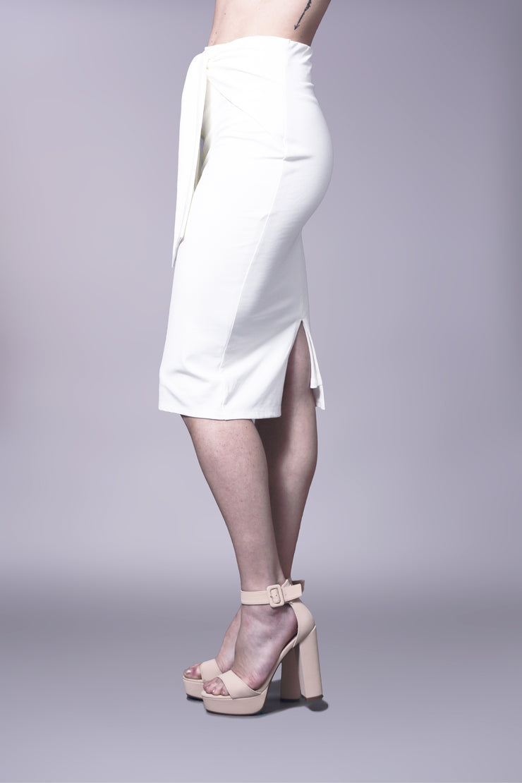 Tie front, stretch pencil skirt