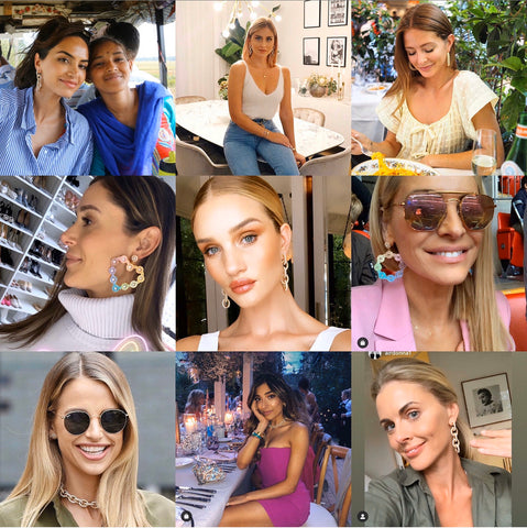 Soru Jewellery Celebrity style, Rosie Huntington Whiteley, millie mackintosh, vogue williams, Donna Air all in pearl earrings from Soru Jewellery